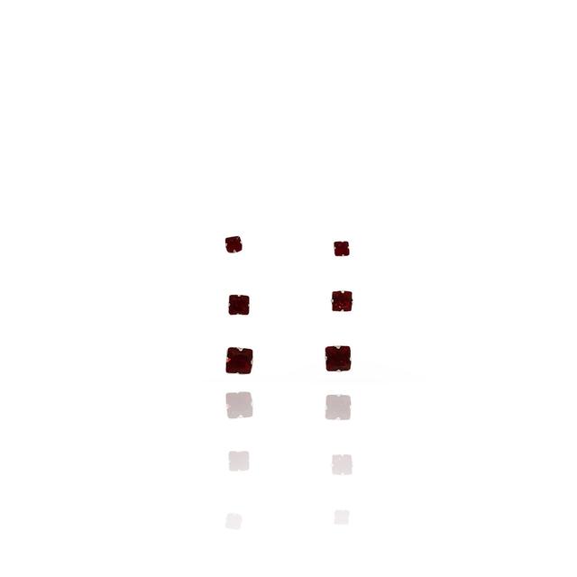 Brinco Trio Quadrado Prata 925 Com Zircônia