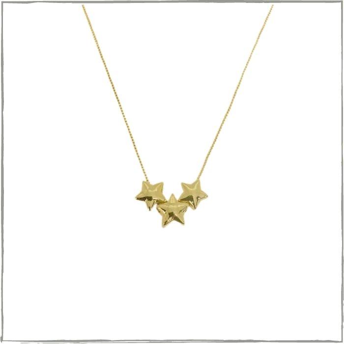 Colar trio de estrelas - banho de ouro 18k