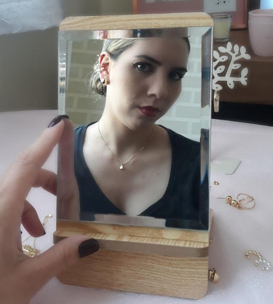 Espelho Retangular Madeira 23cm