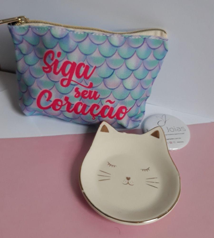 Kit: Necessaire + Espelho de Bolsa + Pratinho Porta Joais de Gatinho
