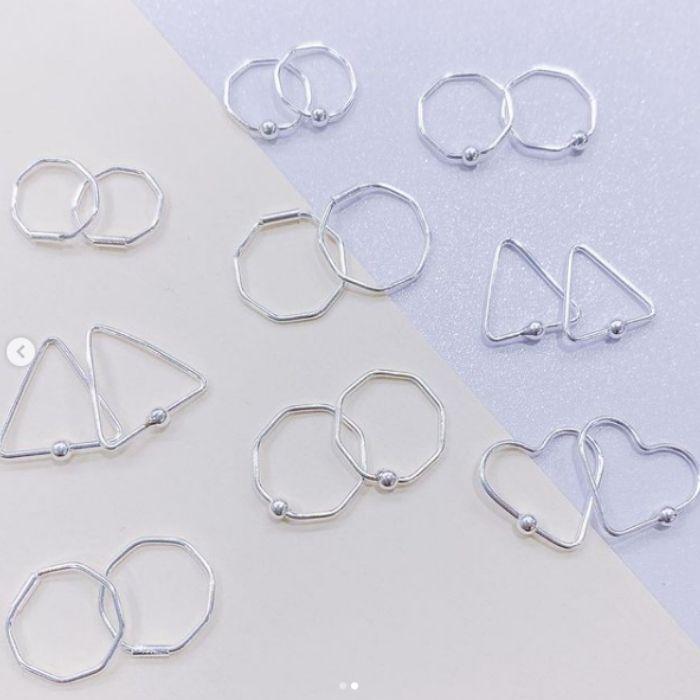 Piercing octógono 10mm - Prata 925