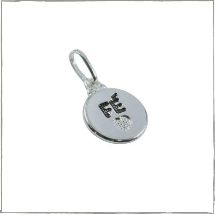 Pingente placa redonda escrito fé - Prata 925