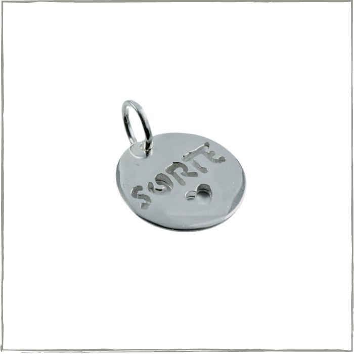 Pingente placa redonda sorte - Prata 925