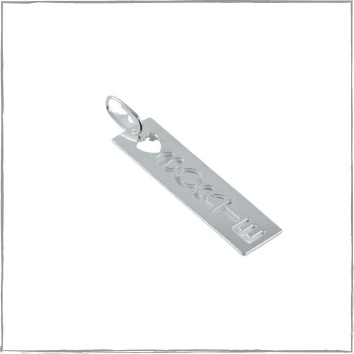 Pingente placa escrito sorte - Prata 925