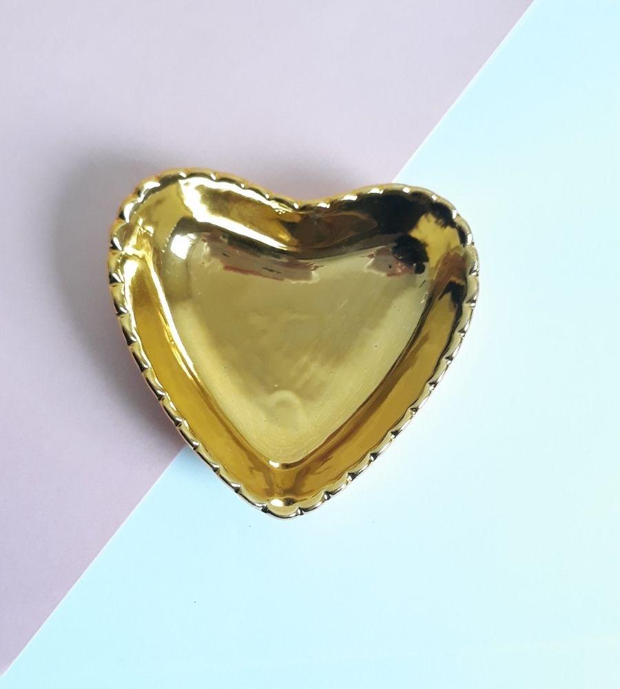 Pratinho Porta Joias Coração Gold