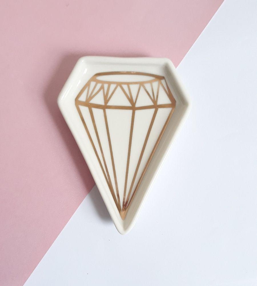 Pratinho Porta Joias Diamante Dourado