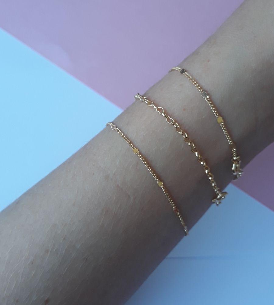 Pulseira com Pontos de Micro Estrelas - Banho de Ouro