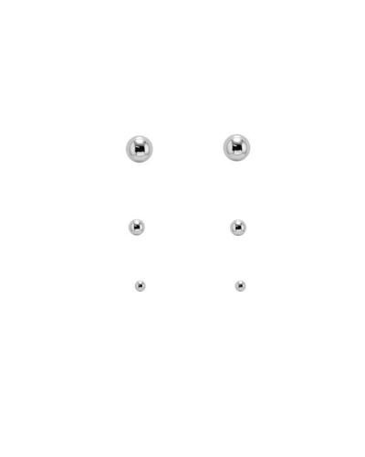 Trio de Brincos Bolinhas Mini - Prata 925