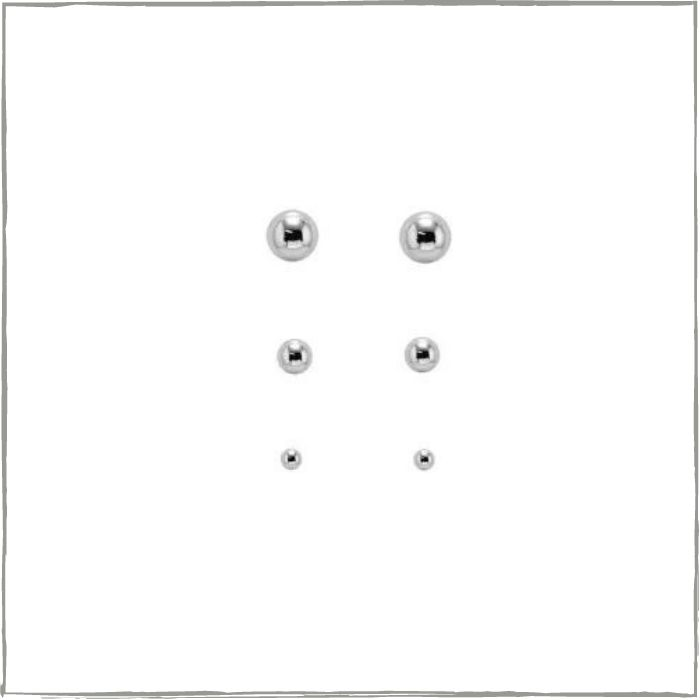 Brinco trio de bolinhas pequenas - Prata 925