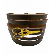 Braceletes de couro Tesoura Dourada