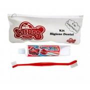 Conjunto de Higiene Dental Cat Dog Creme Dental Morango e Escova de Cabo Longo - Cores Sortidas