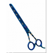Tesoura Semi Dentada Azul 7.0 - Fio Navalha 420c