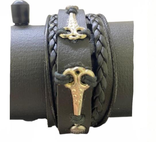 Braceletes de couro Preto com duas tesoura