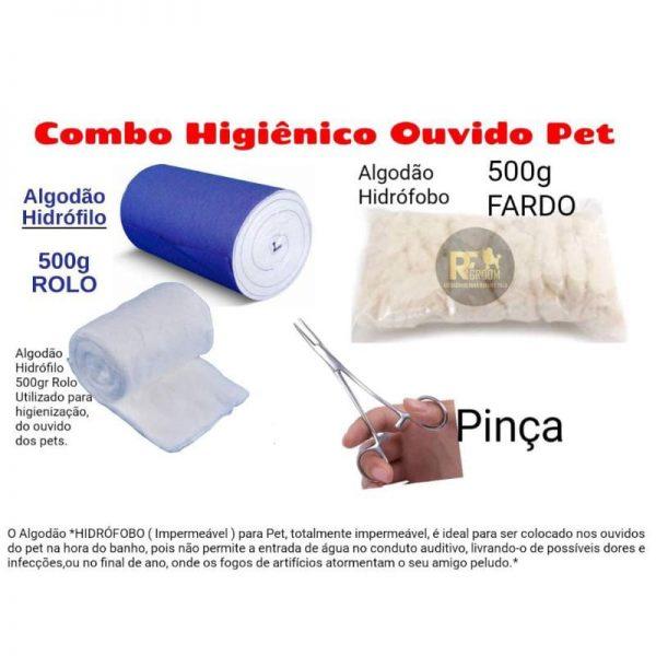 Combo Algodão Hidrofilo 500 g + algodão hidrofobo 500 + pinça para pet