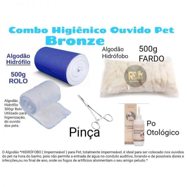 Combo Algodão Hidrofilo 500 g + algodão hidrofobo 500 + pinça + pó hemostático para banho e tosa