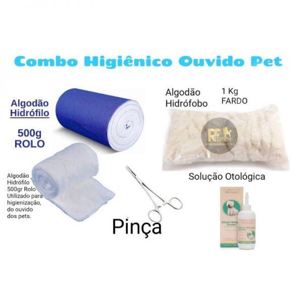Combo Algodão Hidrofilo 500 Gr + algodão hidrofobo 1 kg + pinça +solução Otológica para pet shop