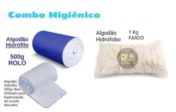 Combo algodão Hidrofilo 500g + algodão hidrofobo 1 kg para Pet shop