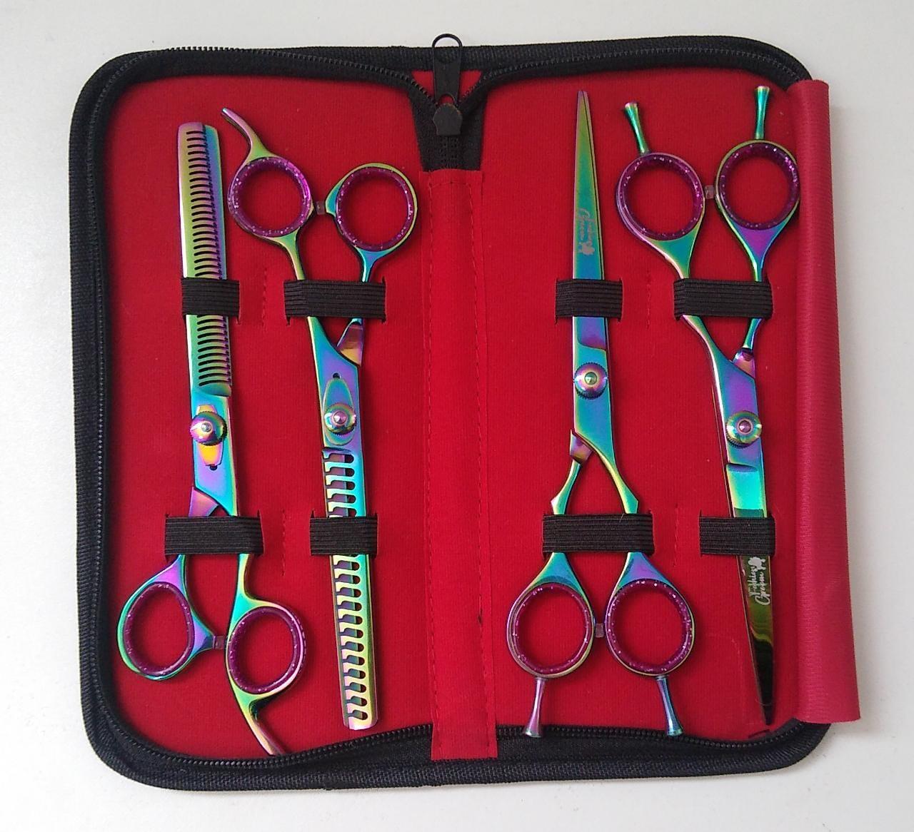 Kit 4 tesouras Fashion groom  7.0 ''
