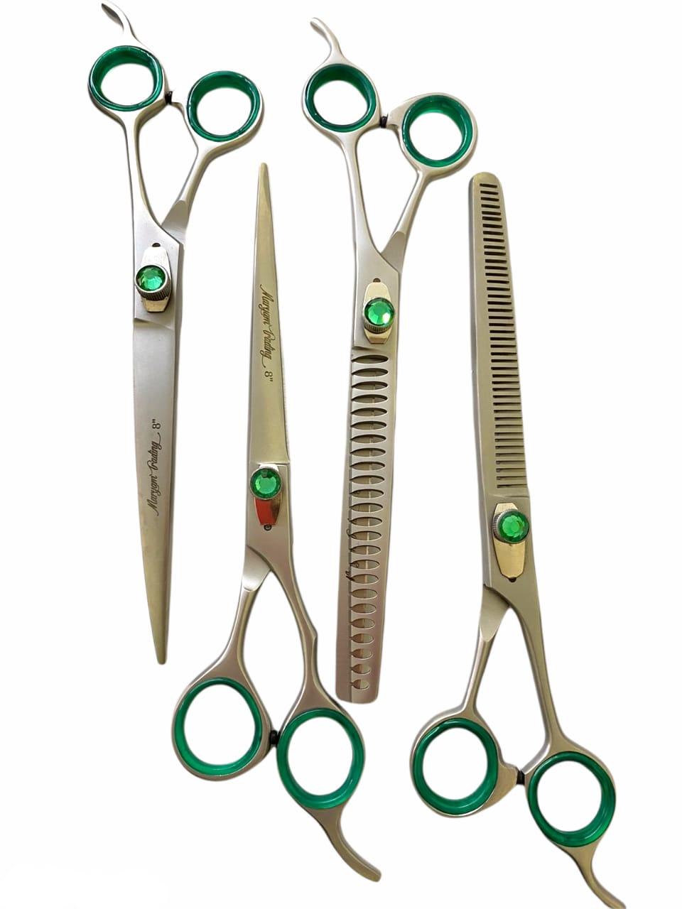 """Kit 4 Tesouras Prata Com Verde 8""""0"""