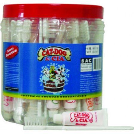 Pote Com 40 Escovas Descartáveis + Mini Creme