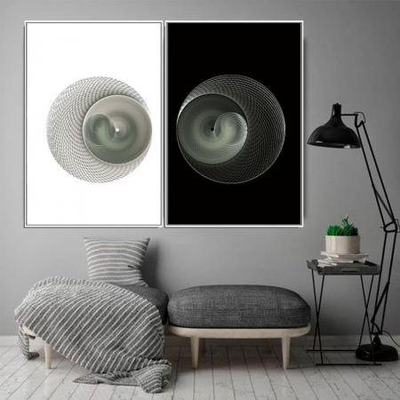 Quadro Decorativo - Fractal Preto e Branco - Com Moldura 80x60cm