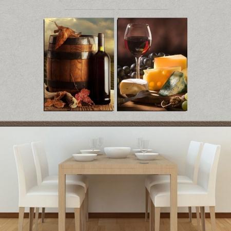 Quadro Decorativo - 2 Telas - Garrafas de Vinho - 80x60cm