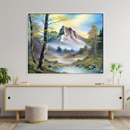 Quadro Decorativo Paisagem Estilo Pintura com Moldura 80x90 cm