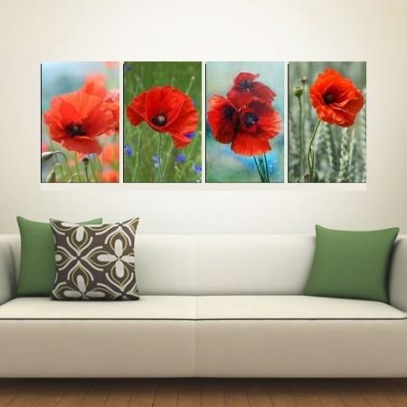Quadros Decorativos - 4 Telas - Papoulas Vermelhas - 60x40cm