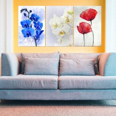 Quadros Decorativos 3 Telas - Flores Coloridas Minimalistas - 60x40cm