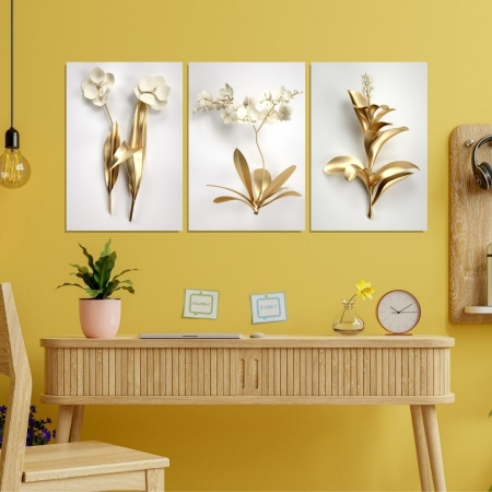 Quadro 3 Telas - Folhagens Douradas Modernas - 65x45cm
