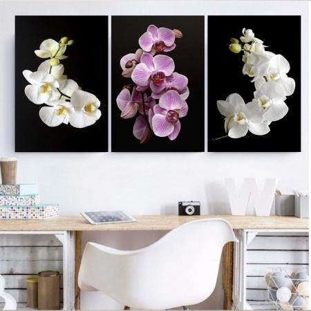 Conjunto Quadros Decorativos com 3 peças Orquídeas 40x60