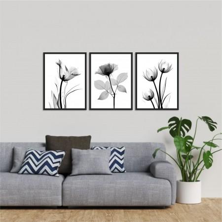 Quadro Decorativo - 3 Telas - Flores Minimalistas - 60x40cm