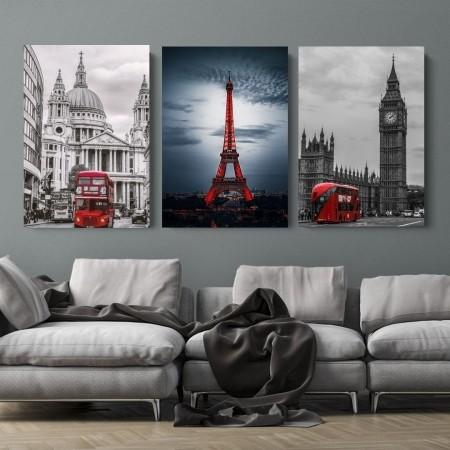 Quadro Para Sala - Três Telas - Paris e Londres - 70x40cm