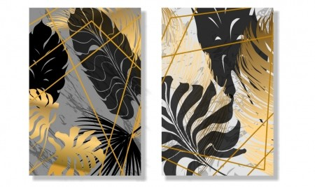 Kit 4 Quadros Folhagens Abstratos