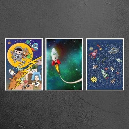 Quadros Decorativos - 3 Telas - Quarto Infantil - Astronautas - 60x40cm