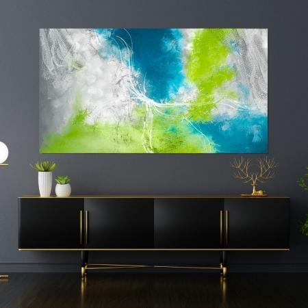 Quadro Para Sala  Abstrato Verde - 110x60cm.
