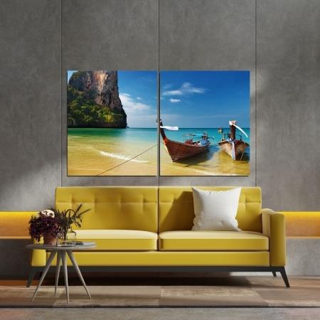 Quadro Decorativo -  2 Telas - Barco a Beira Mar - 120x80cm
