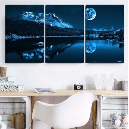 Quadro Decorativo Para Sala - 3 Telas - Luar no Lago - 120x60cm