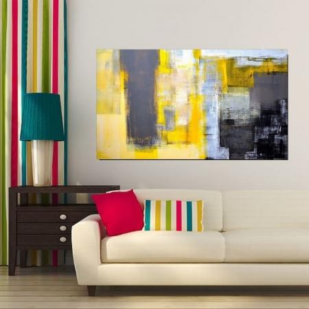 Quadro Decorativo Para Sala - Abstrato Amarelo e Cinza -110x60cm