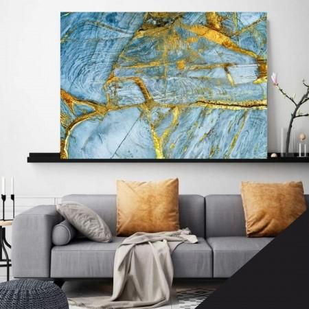 Quadro Decorativo Para Sala - Abstrato Marmorizado Azul e Dourado - 110x70cm