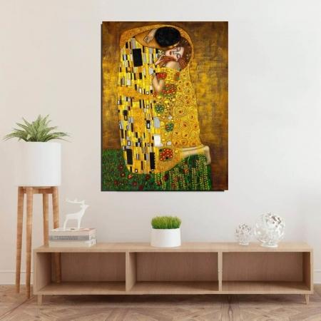 "Quadro Decorativo Para Sala - Abstrato ""O Beijo"" - Artista Gustav Klimt - 110x70cm"