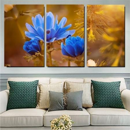 Quadro Decorativo- Flor Anêmona Azul - 3 telas 120x70cm