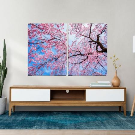 Quadro Para Sala - Arvore com Folhas Rosas - 2 Telas - 120x80cm.