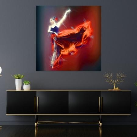 Quadro Decorativo - Bailarina - 80x80cm - Com Moldura
