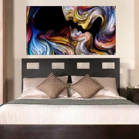 Quadro Decorativo - Beijo Multicolorido - 110x60cm