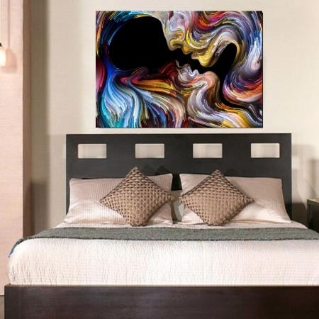 Quadro Decorativo Beijo Multicolorido 100x70cm