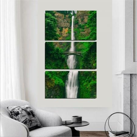 Quadro Decorativo - Três Telas - Cachoeira na Floresta - 120x60cm
