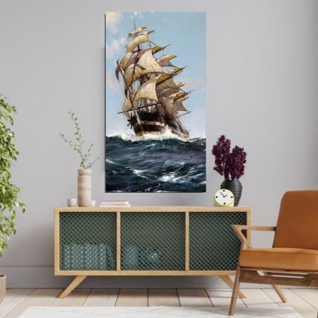 Quadro Decorativo - Caravela no Mar Revolto - 90x50 cm