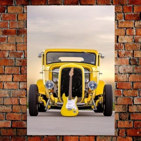 Quadro Decorativo - Carro Antigo - Guitarra  - 90x60cm