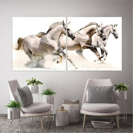 Quadro para Sala - Cavalos Brancos - 2 Telas - 140x70cm